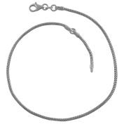 Sterling Silver 1.6-mm Round Snake Chain Adjustable Anklet