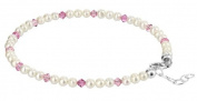 Sterling Silver 22.9cm to 25.4cm Length Adjustable Anklet Made with. Elements Cultured Freshwater Pearl and Light Rose Crystal