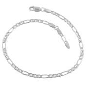 Sterling Silver 3.4-mm Adjustable Figaro Anklet