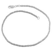 Sterling Silver 1.8-mm Byzantine Anklet