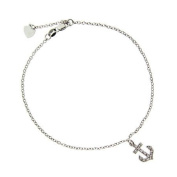 Sterling Silver CZ Anchor Charm Anklet