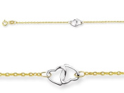 25.4cm 3 Double Hearts Adjustable Ankle Bracelet in 14 kt Yellow Gold