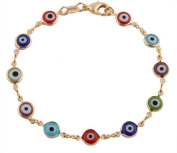 Ladies Gold Filled with Colourful Mini Evil Eye Style 19.1cm Clasp Bracelet
