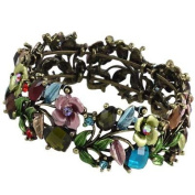 Multicolor Flower Painting and Crystal Cuff Bangle Bracelet Fashion Jewellery