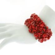 20.3cm Multi Strands Red Coral Stone Chips Stretch Bangle Bracelet