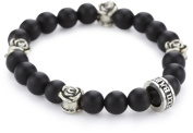 King Baby Black Onyx with 4 Sterling Silver Roses Bracelet