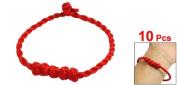 Rosallini Knot Decor Red String Twisted Bracelet Bangle 10 Pcs for Girls