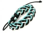 Luos Black/turquoise/white Leather Bracelet - L011