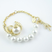 Gold Bangles Desgin,charm Golden Angel Wing with Pearl Linked Fashion Bracelet, Br-1016