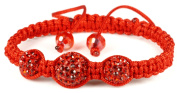 Luos Handmade 3 Red Feng Shui Crystal Ball Red String Bracelet - St053
