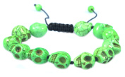 Green Skull Turquoise Stone Bracelet - Good for Healing and Protection- 91053