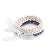 Three Piece Faux Pearl Stretch Bracelet Set Tied with An Organza Ribbon in White, Pale Pink and Deep Purple