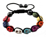 Tibetan Multi-Colour Prayer Beads Skull Bracelet, Skull Beads, Skull Prayer Beads Wrist Mala Shamballa Bracelet