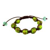 11.5mm Green-Brown Murano Glass Beads and Brown String 8 Bead Shamballa Bracelet