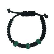 shamballa leather bracelet 3 12mm Green Crystal Ball Sterling Silver Roundel