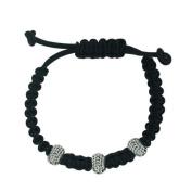 shamballa leather bracelet 3 12mm Black Crystal Ball Sterling Silver Roundel