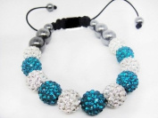 Two-Tone Shamballa Bracelet Continuous Row of 11 Teal & Clear Pave Crystal Balls