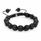 Black Crystal Disco Ball Adjustable Bracelet Iced Out Hip Hop 3230