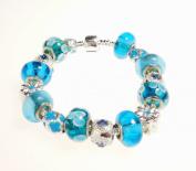 Blue Pandora Inspired Charm Bracelet - Blue and Turquoise Murano Glass Beads - Kiki's Blue and Turquoise Pandora