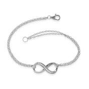 Sterling Silver 17.8cm Double-Strand White Topaz Infinity Figure 8 Bracelet