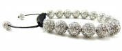 12mm Fully Iced Out Clear White Beaded Adjustable Bracelet + Gift Box