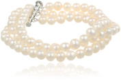 """Sterling Silver 3-Row White A Grade 6.5-7mm Freshwater Cultured Pearl Bracelet, 8"""""""