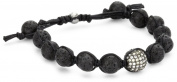 Tai Black Lava Beads with Pave. Clear Crystal Ball Bracelet