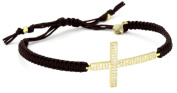 Tai Large. Crystal Cross on Brown Cotton Cord Bracelet