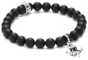 King Baby Black Onyx Bead with Silver Fleur De Lis Bracelet