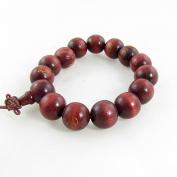 Rosallini Buddhist Wine Red Wooden Prayer Beads Mala Bracelet