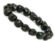 Hand Crafted Black Howlite Turquoise Skull Bracelet - Sk007