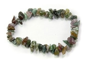. 1 Natural Healing Crystal Fancy Rainbow Jasper Chip Gemstone 17.8cm Stretch Bracelet
