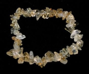 . 1 Natural Citrine Crystal Healing Chip Gemstone 17.8cm Stretch Bracelet.