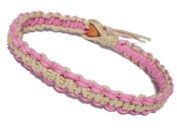 Pink and Natural Surfer Hawaiian Style Stackable Hemp Bracelet - Handmade