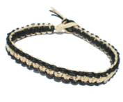 Black and Natural Surfer Hawaiian Style Hemp Bracelet - Handmade