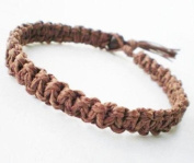 Chocolate Brown Surfer Hawaiian Style Hemp Bracelet - Handmade