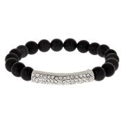 Crystals & Matte Black Bead Stretch Bracelet