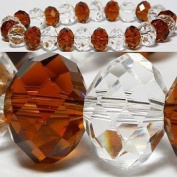 Brown & Clear Faceted Crystal Stretch Bracelet