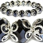 Classic Black Crystal Glass Stretch Bracelet