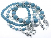 Heavenly Angel Multi-strand Turquoise with Angel Charm Bracelet