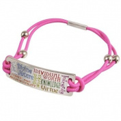 LDS YW Young Women Values Pink Silver Finish Steel Bungee Bracelet - Faith (White), Divine Nature (Blue), Individual Worth (Red), Knowledge (Green), Choice & Accountability (Orange), Good Works (Yellow), Integrity (Purple) & Virtue (Gold) - Bracelet Fits