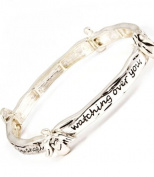 Accessory Accomplice Silvertone Engraved Angel Blessing Stretch Bracelet
