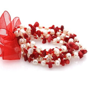 Multistrand Red Stone and White Pearl Bead Stretch Bracelet with Red Organza Ribbon
