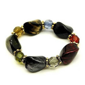 Chunky Multicolor Painted Beads and Crystal Stretch Bracelet