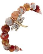 Gold Tone Redish Brown Semi-Precious Stone Clear Rhinestone Dragonfly Charm Stretch Bracelet
