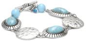 """NINE WEST VINTAGE AMERICA """"Earth Daze"""" Turquoise Link Line Bracelet"""