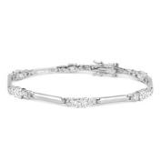 Willow Xpress Michele White Diamond Silvertone Bracelet