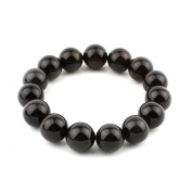 O-stone 4A Best Quality Natural Ice Obsidian Bracelet 14mm with High Rainbow Eye Effect Grounding Stone Protection