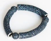 Stretch Bracelet with Brilliant Crystals - Navy Blue