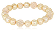 """Honora """"Pop Star"""" Champagne Freshwater Cultured Pearl and Crystal 19.1cm Stretch Bracelet"""
